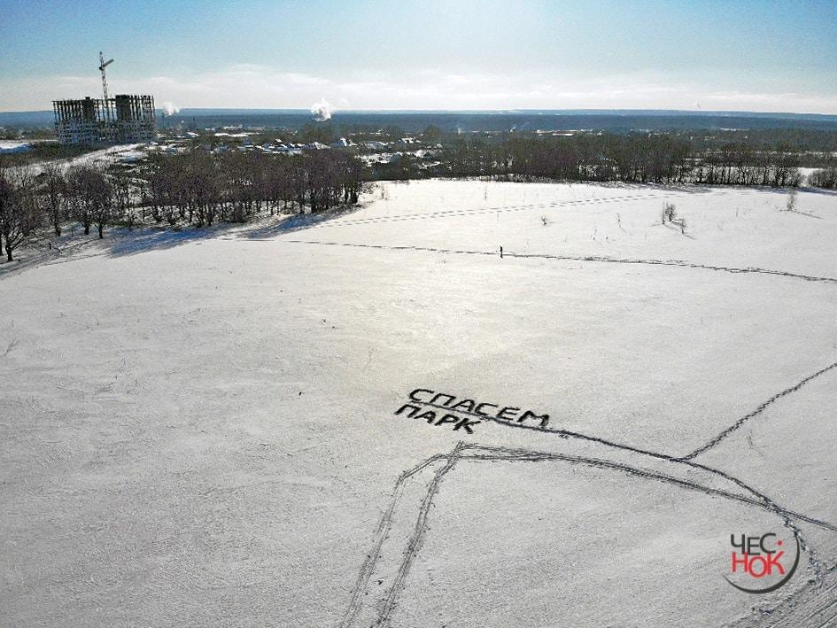 На «Лыжне России» владимирцы устроили флэшмоб против застройки парка «Дружба»